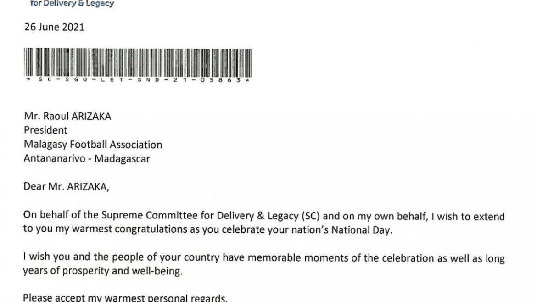 Lettre de félicitation à l'occasion de la fête de l'indépendance Malagasy